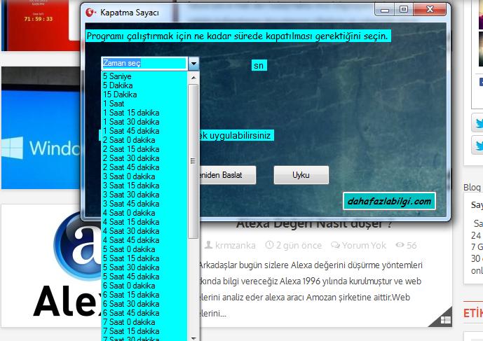 2 C# programlama dilinde programlanan Süreli PC kapatma programı