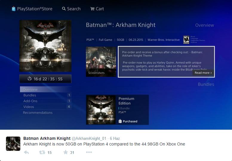 arkham-knight Batman: Arkham Knight'ın PlayStation 4 üzerindeki boyutu arttı